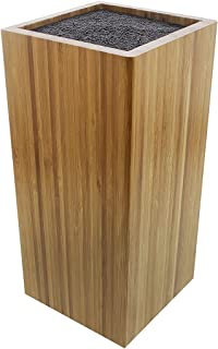 Bamboo Knife Block with Bristles - Natural Universal Knife Stand Holder for Household Kitchen or Restaurant Use - 8.75 x 4 x 4 inches