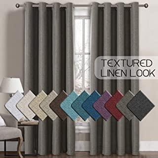 H.VERSAILTEX Linen Curtains Room Darkening Light Blocking Thermal Insulated Heavy Weight Textured Rich Linen Burlap Curtains for Bedroom/Living Room Curtain, 52 by 96 Inch - Taupe Gray (1 Panel)
