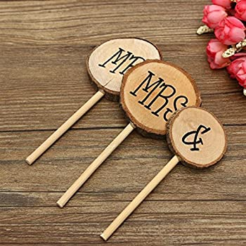 3 Pcs Mr&Mrs Toppers Natural Wood Cake Decoration Chic Rustic Wedding Mr Mrs Letter Topo for Couple Sweetheart Party ...