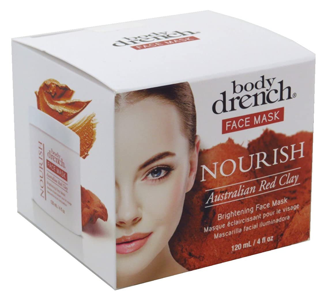 Body Drench Face Mask Nourish Australian Red Clay 4 Ounce Jar (120ml) (3 Pack)