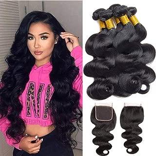Jaycee Hair Brazilian Human Hair 3 Bundles with closure Body Wave 100% Unprocessed virgin Human Hair Extensions Natural Black Color (100+/-5g)/pc(22 24 26+20Closure)