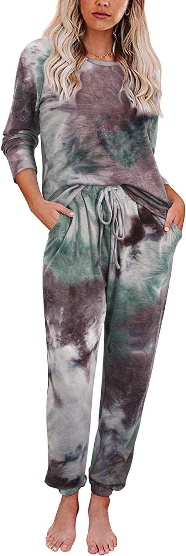 High material GOOTUCH Womens Award-winning store Tie Dye Printed Pajamas Long with Sleeve Tops Set