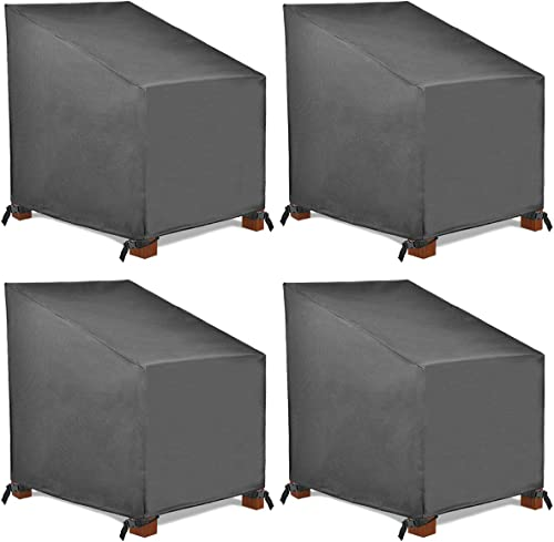 Patio Watcher 4 High Back Patio Chair Cover, Durable and Waterproof Outdoor Furniture Chair Cover,Grey
