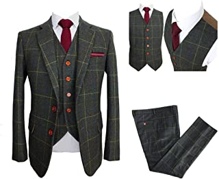 Classic Tweed Herringbone Wool Blend Men Suit 3 Pieces Check Plaid Dark Green Striped Blazer