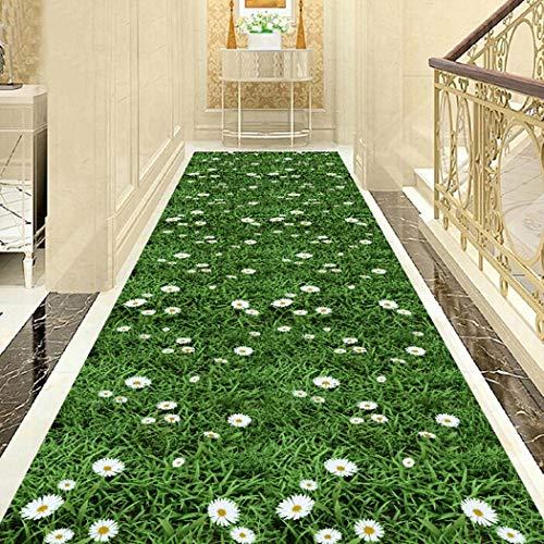 Jjzhb Green Sea of Flowers, vloerkleed voor vloerbedekking met lange trappen, zachte textuur en gemakkelijk te reinigen