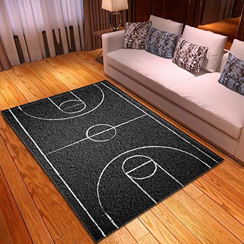 DRTWE Gran Terciopelo 3D impresión Alfombra cancha de básquetbol Patrón Antideslizante Sala de Juegos Niños Jugar Alfombra Moderna Sala de Estar Cama Piso Pad casa decoración,160 * 200cm