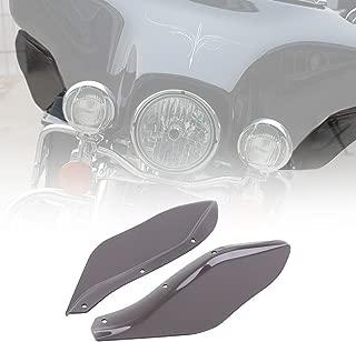 KIWI MASTER 2 Pcs Fairing Air Deflectors Side Wings Windshield Side Cover Shield Compatible for 1996-2013 Harley Davidson Touring Electra/Street/Tri Glide CVO,Dark Smoke Finish