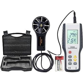Eray Anemometro Professionale Termometro Digitale Misuratore di Velocità del Vento e la Temperatura con LCD Schermo Retroilluminato Calcola un'Area in CFM o CMM per Escursionismo, Vela, Pesca e Viaggi