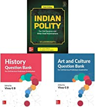 Indian Polity 6E + History Question Bank (For Civil Services Preliminary Examination) + Art and Culture Question Bank (For Civil Services Preliminary Examination) (Set of 3 Books)