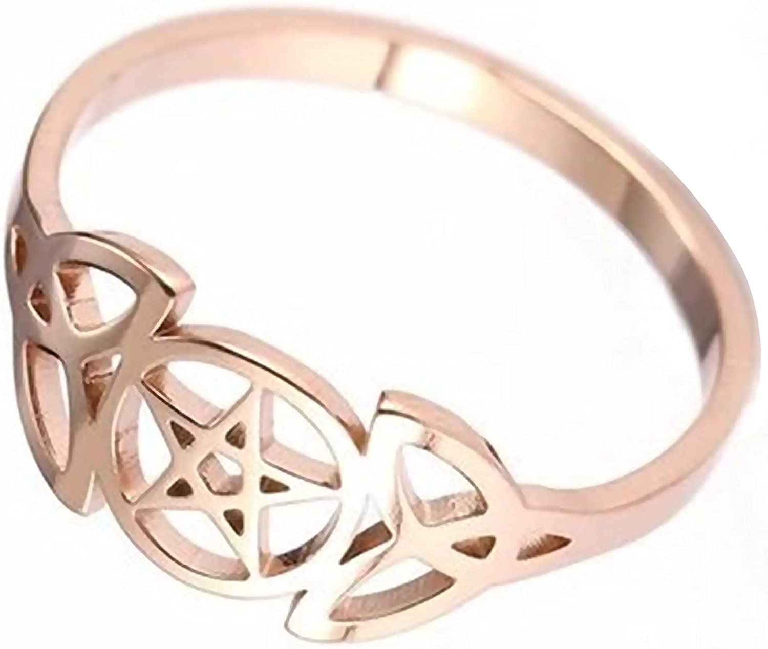 Fantasy Forge Jewelry Triple Goddess Ring Womens Rose Gold Stainless Steel Star Crescent Moon Band Sizes 6-10