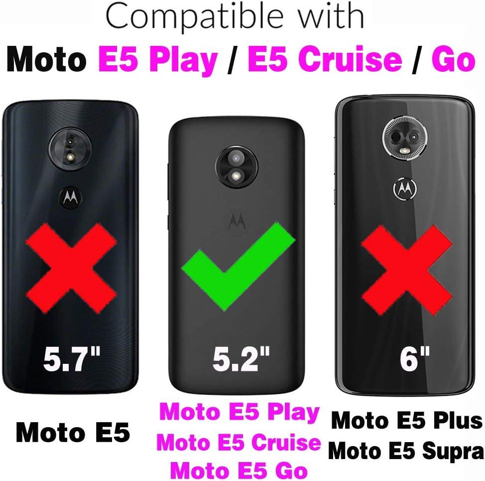 Phone Case for Moto E5 Play Cruise Folio Flip Wallet Case,PU Leather Credit Card Holder Slots Full Body Protection Kickstand Protective Phone Cover for Motorola MotoE5play MotoE5 E5play Dark Blue