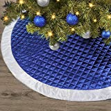 Ivenf Christmas Tree Skirt, 48 inches Large Blue Silver Faux Silk Thick Luxury Skirt, for Xmas Tree Holiday Decorations