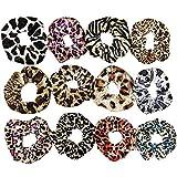 Gomas de pelo scrunchies elasticas, 12 Piezas Terciopelo cuerda de pelo Scrunchies leopardo del pelo Bandas para el cabello accesorios para mujeres y niñas