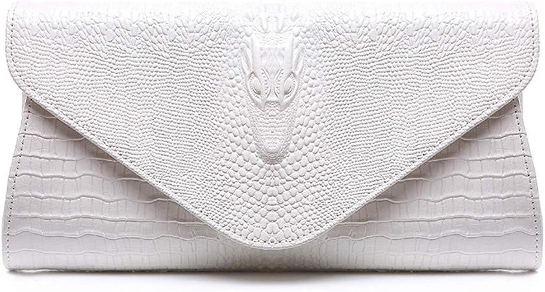 Clutch Bag Women Elegant Prom Leather Envelope Clutches Bag Crocodile Pattern Wristlet Evening Handbag Party Clutch Purse Shoulder Cross Body Bag Bridal Wedding Bag Evening Bag (color   White)