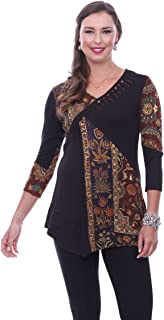 Parsley & Sage Irene, 3/4 Sleeve, V-Neck, Fancy Tunic Top in a Geometric Pattern