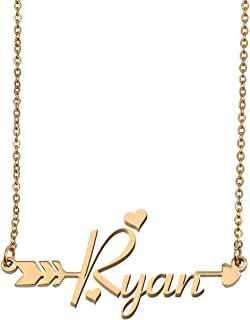 Customized Custom Name Necklace Personalized - Custom Any Initial Name Arrow Horizontal Monogrammed Necklace Gift for Womens Girls