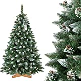 FairyTrees Albero di Natale Artificiale, Pino Naturale con Punte innevate, PVC, pigne Naturali, Supporto in Legno, 180cm, FT04-180