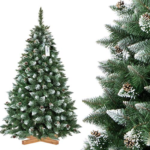 FairyTrees Pino Naturale con Punte innevate, Albero di Natale Artificiale, PVC, pigne Naturali, Supporto in Legno, 180cm