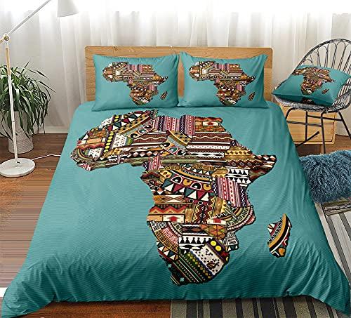Juego de Funda Nórdica Impresa en 3D Mapa de Africa Juego de Cama de 3 Piezas para Dormitorio Funda Nórdica de Microfibra para Niños Adultos con 2 Fundas de Almohada (135x200cm)