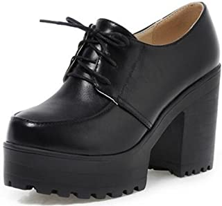 Women's Vintage Platform High Heels Chunky Lace Up Oxfords Low Top Shoes