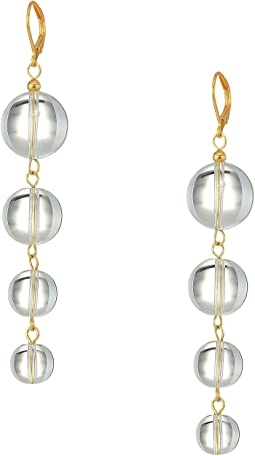 Kenneth Jay Lane - Gold with Clear 4 Graduated Bead Drop Eurowire Earrings