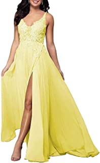 Jonlyc A-line Lace Appliques Prom Dress Sleeveless Chiffon Long Formal Party Gown with High Slit