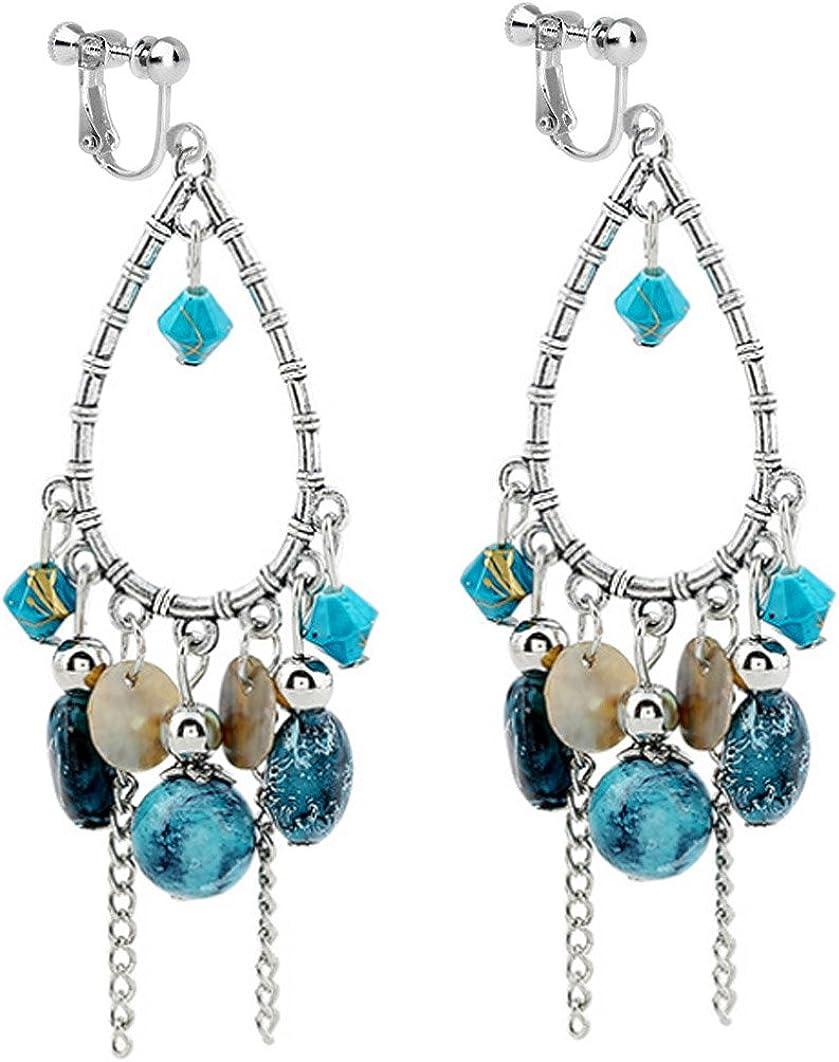 Usresu Clip on Earrings Vintage Waterdrop Bead Dangle Tassels Gold Plated Style Costume