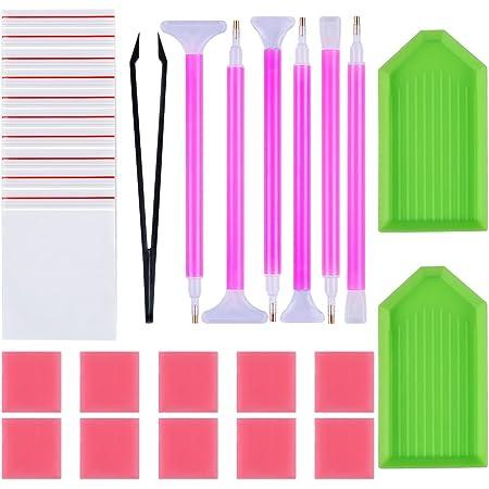 Tweezers Glue for DIY Art Craft Plastic Tray Unnowils 30 Pcs 5D DIY Diamond Painting Tools Kits Diamond Painting Accessories Cross Stitch Tool Set Including Diamond Stitch Pen