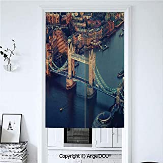 AngelDOU London Door Curtains Home Decor Modern Valances London Aerial View with Tower Bridge at Sunset Internatinal Big Old UK British River Decorative Room Divider for Bedroom Kitc 39.3x59 inches