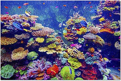 Romance-and-Beauty Helles lebhaftes buntes Riff mit tropischen Fischen im Aquarium 9004324 (Puzzle für Erwachsene) 500 Stück