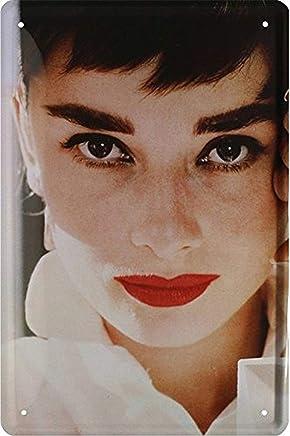 Audrey Hepburn doigt doigt dhonneur Plaque de 20/x 30/R/étro T/ôle 1722 Blechschild 20 x 30 cm Frais et