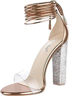 صندل پاشنه بلند زنانه زنانه با کفش Rhinestone Strappy Clear Chunky Heels Dress Pumps کفش