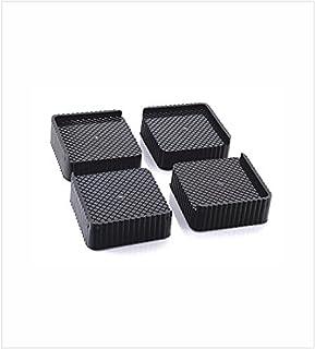 Sio Plastic Almirah, Wardrobe, Refrigerator Stand (Grey Black) - 4 Pieces