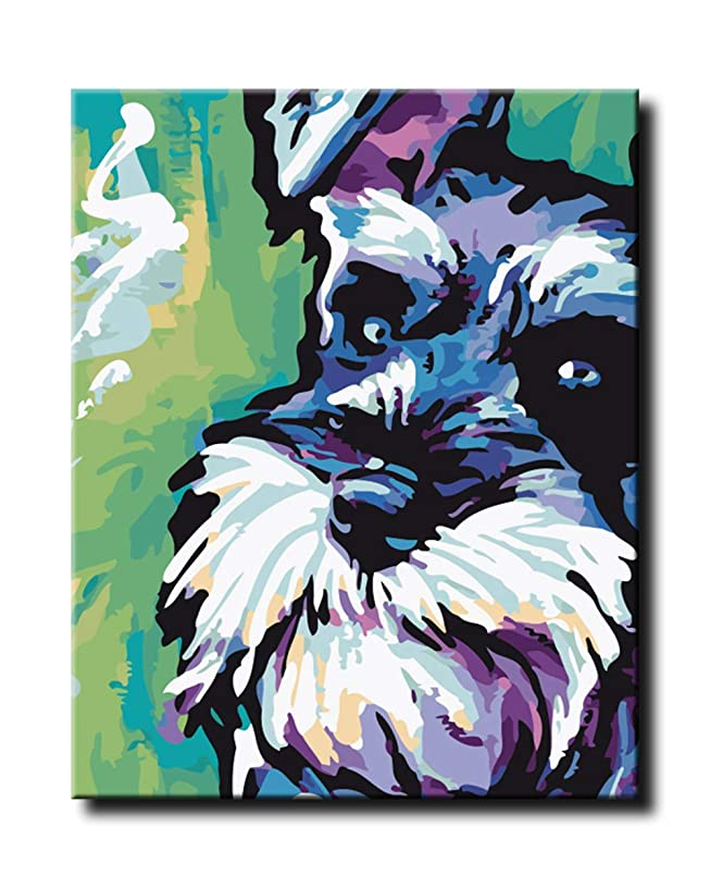 Shukqueen DIY Paint by Numbers for Adults DIY Oil Painting Kit for Kids Beginner - Schnauzer 16x20 Inch (Without Frame)