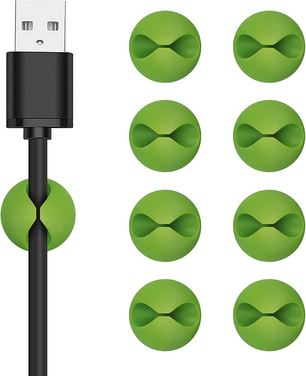 CHEFBEE 8 Pack Cable Clips, Cord Organizer Cable Management, Self Adhesive Wire Holder System, Multipurpose Wire Clips for All Your Computer, Electrical, Charging or Mouse Cord (Green)