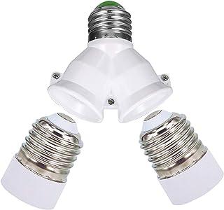 E27 1 a 2 E27 Socket Adaptador, 2 piezas E27 to E14 Socket Adapter Socket Convertidor Adaptador de base de lámpara de para bombillas LED y bombillas incandescentes