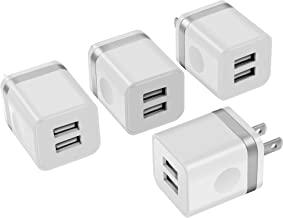 Power-7 USB Charger Cube, Wall Charger 4-Pack 2.1Amps Dual Port USB Plug Power Adapter Charging Block Brick Compatible with Phone Xs/Xs Max/XR/X/8/7/6 Plus, Samsung, LG, Moto, Nokia, Kindle and More
