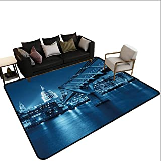 MikiDahome Collection Area Rug, Millennium Bridge and St Pauls Cathedral at Night in London Monument Town Scenery, 31