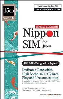 【使用期限:2021/12/31】Nippon SIM for Japan 日本国内用 15GB (容量に達るとサービス終了) 3-in-1 (標準/マイクロ/ナノ)データ通信専用 (音声&SMS非対応) 4G/LTE SIMカード / 海外大...