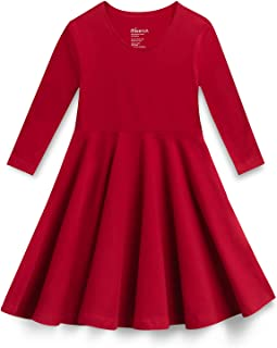 Mightly Girls' 3/4 Sleeve Skater Dress   Organic Cotton Fair Trade Certified Toddler and Kids Clothes, Red, 5