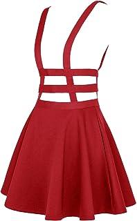 EXCHIC Women's Braces Skirt Pleated A-Line Suspender Mini Skirt