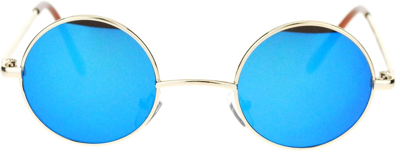 Retro Extra Small Round Circle Revo Lens 70s Groovy Hippie Sunglasses gold bluee