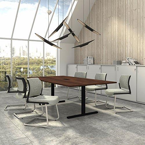 Easy Konferenztisch 240x120 cm Nussbaum mit ELEKTRIFIZIERUNG Besprechungstisch Tisch, Gestellfarbe:Schwarz