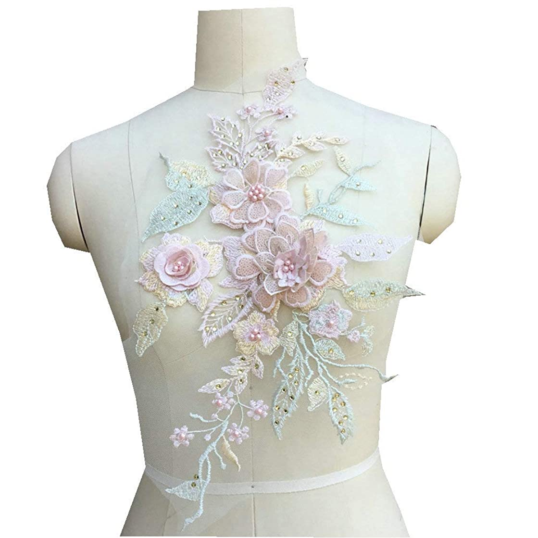 Multicolor 3D Diamond Embroidery Beading Lace Applique Patch Dress Children's Costumes Wedding DIY Decorative (Candy Color)