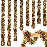 WILLBOND Guirnalda de Oropel de Navidad de 6,6 Pies Guirnalda Torcida de Oropel Nevada Adorno de Árbol de Navidad Brillante Clásico para Decoración de Techo Colgante de Fiesta (Rojo y Verde, 5)