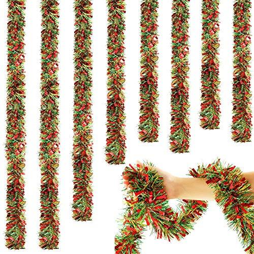 WILLBOND Guirnalda de Oropel de Navidad de 6,6 Pies Guirnalda Torcida de Oropel Nevada Adorno de Árbol de Navidad...