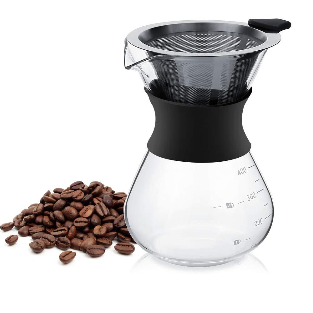 Cafetera de Vidrio Y Filtro de Acero Inoxidable Reutilizable Cafetera de goteo Manual de 0.4L con Manija: Amazon.es: Hogar