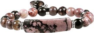 Rockcloud شفاء الحب القلب حجر سوار استرخى الطاقة كريستال سحر تمتد مطرز سوار مجوهرات يدوية للرجال والنساء