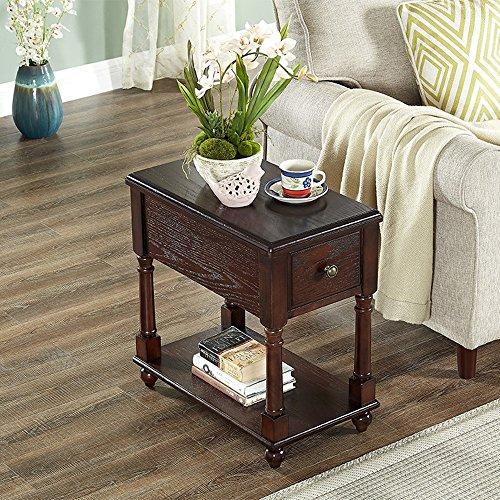 Fei Fei FEI rekken salontafel met lade massief hout vierkante hoek tafel nachtkastje Telefoon salontafel L56*W33*H59CM.