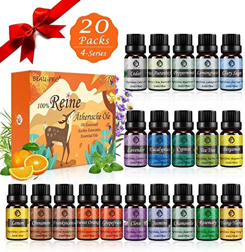 Aceites Esenciales Humidificador, 20x5ml Aceites Esenciales Naturales 100%, Aromaterapia para Humidificador y Difusor Aroma, SPA, Masajes,...
